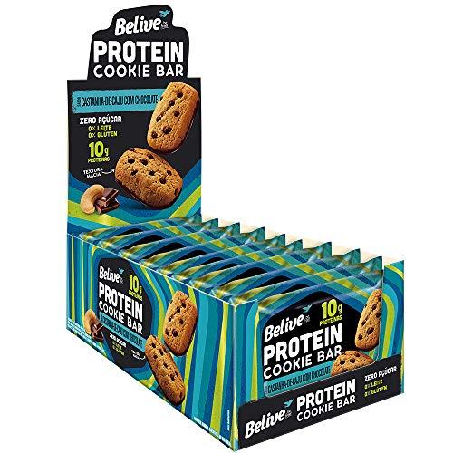 Cookie Bar Protein Castanha de Caju com Chocolate Sem Açúcar Sem Glúten Sem Lactose Belive 40g Display com 10 unidades