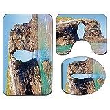 3Pcs Alfombra de baño antideslizante Juego de tapa de asiento de inodoro Decoración costera Alfombra de baño antideslizante Suave Arcos de piedra rocosa antigua en la costa española Luz de verano Natu
