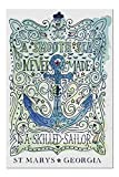 Rompecabezas Puzzle Rompecabezas de Madera St. Marys Georgia - Tortuga marina - Un mar suave - Acuarela - Tema náutico - Obra de arte 75.5X50.3CM