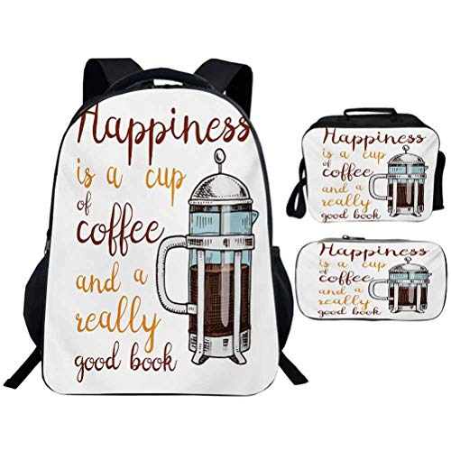 Backpack Insulated Thermal Lunch Bags Children School Pencil Bags Coffee French Press with Hot