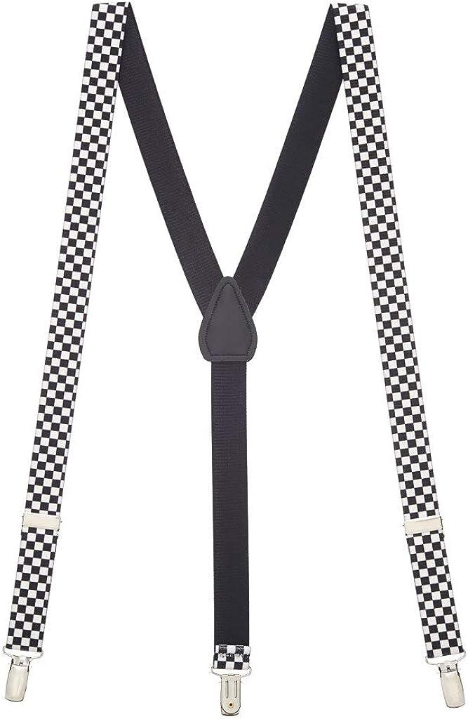 SuspenderStore Men's Black & White Checkered Novelty Clip-End Suspenders