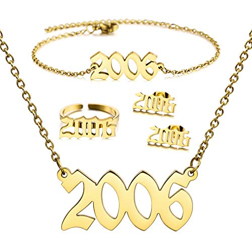 MeMeDIY 4 Piezas Año de Nacimiento Número Collar/Pulsera/Pendientes/Anillo para las Mujeres Chicas Amigo Acero Inoxidable 18K Enchapado en oro Birthstone Amistad Colgante Regalo de Cumpleaños (2006)