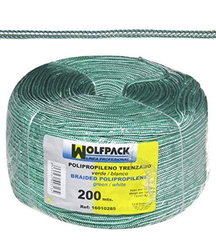 WOLFPACK LINEA PROFESIONAL 16010285 Cuerda Trenzada Polipropileno Blanca/Verde (Bobina 200 m.)