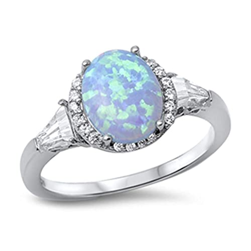 CloseoutWarehouse Turtle Blue Simulated Opal Ring 925 Sterling Silver Size 5