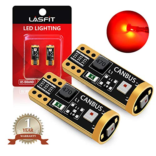 194 168 T10 W5W LED Bulb Canbus Error Free, Non-Polarity 400LM Extremely Bright for Tail Center High Mount Stop Lights, Brilliant Red (Pack of 2)