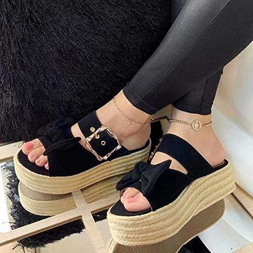 Sandalias clásicas cómodas, sandalias de cáñamo, con lazo, color negro, 37, para mujer con puntera abierta, sandalias kshu