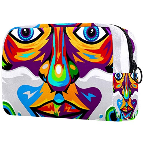 Makeup Bag Portable Travel,Smoke Weed Colorful Hipster Rastaman,Cosmetic Bag for Women,Beauty Zipper Makeup Organizer…