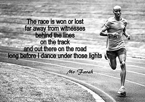 Mark Mountford Mo Farah Weltmeister Langstreckenläufer Schwarzweiß Motivationsposter- Das Rennen ist gewonnen oder verloren- Sport, Motivation, Inspiration, Plakat A3 420 x 297mm