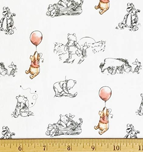 """1/2 Yard - Winnie The Pooh Sketch on White Cotton - Tigger Eeyore & Roo (Great for Quilting, Sewing, Craft Projects, Quilts, Throw Pillows & More) 1/2 Yard X 44"""" Wide"""
