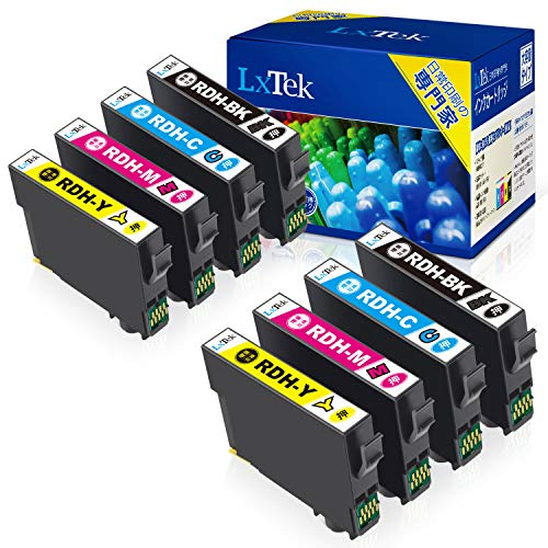【LxTek】Epson用 PX-048A PX-049A インク RDH-4CL インクカートリッジ 8本セット(4色セット*2) エプソン対応 リコーダー インク 『互換インク/2年保証/大容量/説明書付/残量表示/個包装』対応機種: PX-048A PX-049A