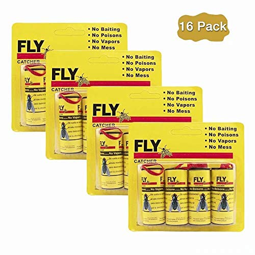 Big Devil Sticky Fly Trap, Fly Ribbons, Fly Catcher Ribbon, Fly Paper Ribbon, Fly Paper Strips, Fly Paper Strips, Fly Catcher Trap, Fly Ribbon, Fly Bait (16 Pack) (Yellow)