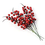 BELUPAI Artificial Berry Stems, 20 Pack 10.2' Christmas Red Berries Artificial Fruit Berry Holly Flower Branch for Home Holiday Wedding Party DIY Christmas Tree Crafts Decor