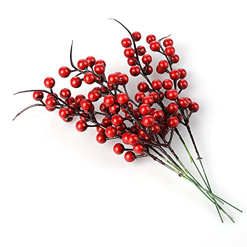 BELUPAI Artificial Berry Stems, 20 Pack 10.2 Christmas Red Berries Artificial Fruit Berry Holly Flower Branch for Home Holiday Wedding Party DIY Christmas Tree Crafts Decor