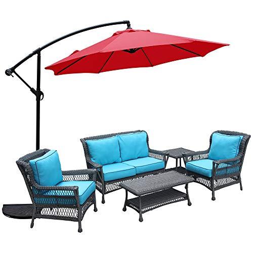Damai Sonnenschirm 300 X 300 cm Mit Kurbel UV Schutz Höhenverstellbarer Balkonschirm Gartenschirm Terrassenschirm,Rot
