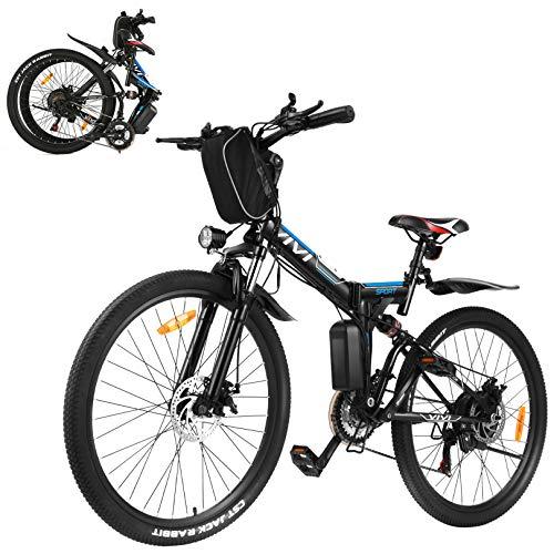 VIVI 350W E-Bike Mountainbike,26 Zoll Erwachsene Faltbares Elektrofahrrad,Faltbares Mountainbike für Männer & Frauen, Professionelle Shimano 21-Gang-Getriebe & 36V 8Ah Lithium-Ionen Batteri