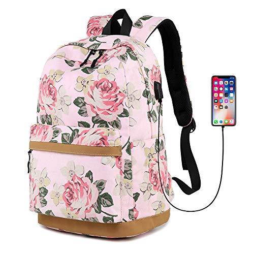 MORGLOVE Blumen Schulrucksack Mädchen Teenager Canvas Freizeit Groß Rucksack Damen mit USB und Viel Platz für Schule Uni Rot