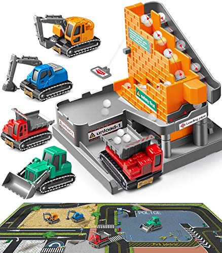 Construction Truck,Geyiie Construction Vehicles Playset with Map, Small Die Cast Vehicle Truck with Ball Up and Drop DIY Tower, Digger,Tractor, Dump Toys for Kids,Toddler,Boys