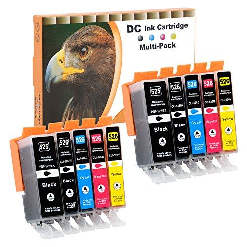 D&C 10er Set Druckerpatronen Kompatibel für Canon PGI-525 CLI-526 für Pixma IP4840 IP4850 IP4900 MG5140 MG5150 MG5240 MX710 MX715 MG6100 MG6150 MG6200 IP4950 IX6550 MG5250 MG5300 MG5340 MG5350 MG6250