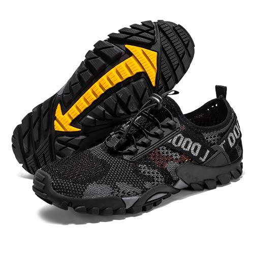 Hombres Mujeres Zapatos Descalzos Trail Running Beach Zapatos de secado rápido Zapatos de agua al aire libre Ligero Minimalista Unisex Antideslizante Pareja Aqua Zapatos, Black, 39 2/3 EU