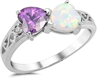 Oxford Diamond Co Heart Simulated Amethyst & Lab Created White Opal .925 Sterling Silver Ring Sizes 4-12