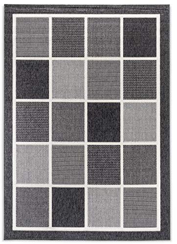 Domdeco In- und Outdoor-Teppich Square Tiles Black L 140x200cm f. Innen und Außen