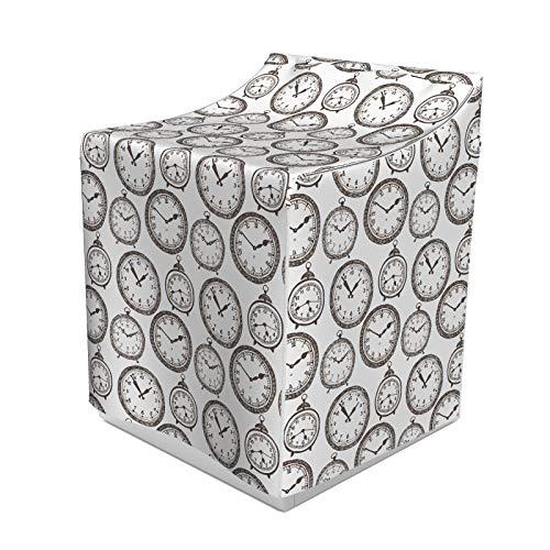 ABAKUHAUS Uhr Waschmaschienen und Trockner, Vintage Taschenuhr mit Zahlen darauf Antik-Design Chronometer Altertümlich Drucken, Bezug Dekorativ aus Stoff, 70x75x100 cm, Braun