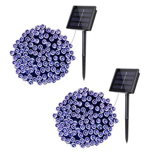 33Ft 100 Led Solar String Light, White Outdoor String Light Waterproof, 8 Mode Solar Fairy String Light 2Pack
