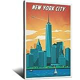 New York Vintage-Reise-Poster, One World Trade Center,
