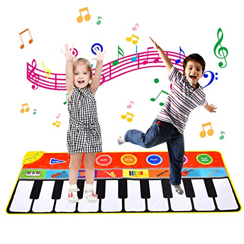 Upgrow Tanzmatte, Kinder Musikmatte, Klaviermatte mit 8 Instrumenten, Klaviertastatur Musik Playmat Spielzeug für Babys, Kinder, Mädchen und Junge (148x60 cm)
