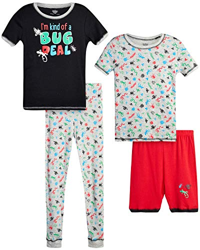 Only Boys Pajamas ? 100% Cotton Snug Fit Sleep Shorts, Joggers, and Short Sleeve T-Shirt Pajama Set(Red/Black A Bug Deal, Small - 6)