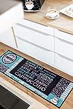 onloom Küchenläufer Cafe Creme Läufer Kaffee Coffee, Farbe:Grau-Türkis, Größe:50 x 150 cm