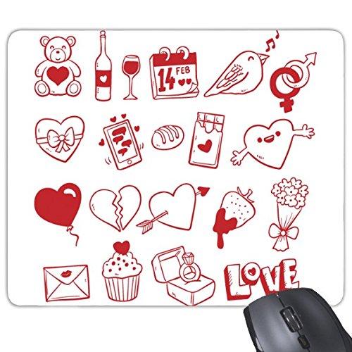 Valentijnsdag Rode Beer Wijn Liefde Vogel Hart Brood Chocolade Ballon Aardbei Bloem Envelop Cupcake Ring Liefde Illustratie Patroon Rechthoek Antislip Rubber Mousepad Game Mouse Pad