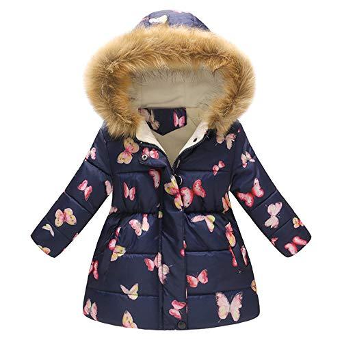 XXYsm Kinder Baby Mädchen Mantel Winter Jacke mit Kapuze Schmetterling drucken Coat Winddicht Outwear Dunkelblau 110/2-3 Jahre