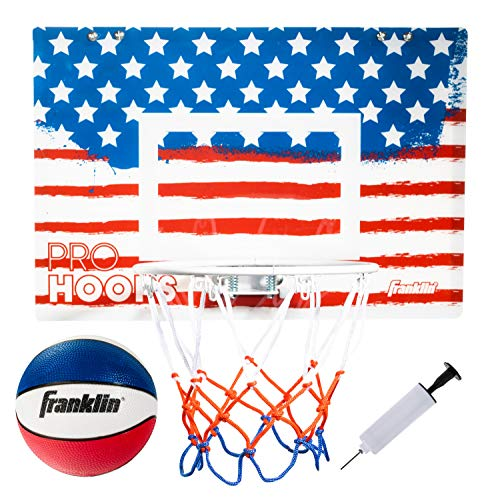 Franklin Sports USA Over The Door Mini Basketball Hoop - Slam Dunk Approved - Shatter Resistant - Accessories Included