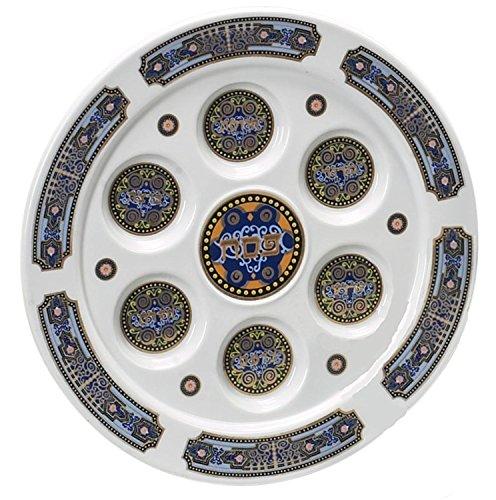Quality Judaica Royal Pessach Seder Teller mit Einkerbungen und Namen der Lebensmittel, die