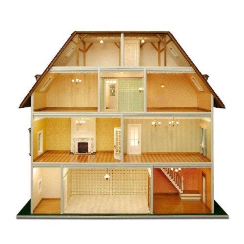 MiniMundus Bauelemente für 'Villa Tara' z.T. weiß lackiert (Türen, Fenster usw.) für das Puppenhaus Villa Tara