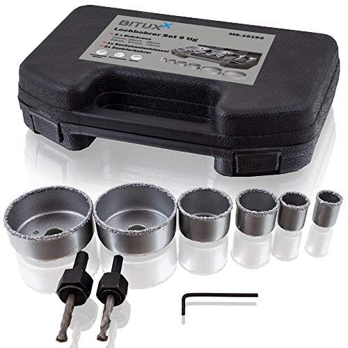 BITUXX® 9 teiliges Lochbohrer Lochsäge Betonlochbohrer Steinlochbohrer Dosenbohrer Bohrkrone Bohrwerkzeug Bohrer Set 22-73mm