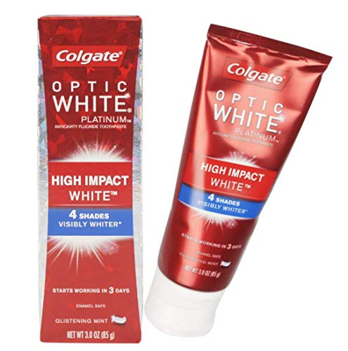 Colgate Optic White Platinum High Impact White Anticavity Flouride Toothpaste, Glistening Mint 3 oz ( Pack of 2)