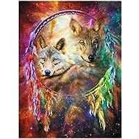JXRDG 5Dダイヤモンド絵画動物カラフルなオオカミ、Diyフルスクエアドリルダイヤモンドモザイクラインストーン刺繡アート装飾写真40x50cmフレームなし