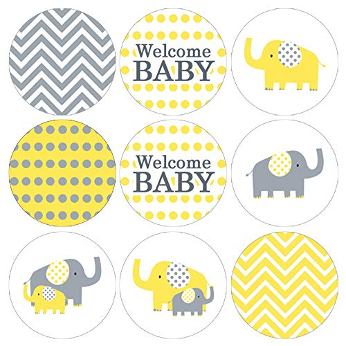 Yellow Elephant Baby Shower Favor Stickers - 180 Labels