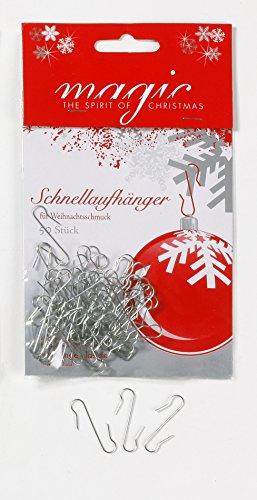 Inge-glas 50 Stück Christbaumkugel Aufhänger Metall Silber // S Hacken Schnellaufhänger Kugelaufhänger