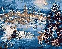 大人のための番号キットによるペイント子供大人のためのDIYデジタルキャンバス絵画ギフト子供番号キットによるペイント-16x20インチのフレームレスで遊ぶ子供