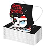 YpingLonk 50/100pc Unisex Adulto Bufanda Moda Universal 3 Capa de Navidad Impreso Lindo elástico Earloop Bufanda para Mujeres Hombres -21124-11