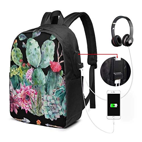 Lawenp Laptop Backpack,17 Inch College School Backpack with USB Charging Port, Casual Daypack for Travel (Boho Watercolor Cactus Flowers Feathers Arrows)