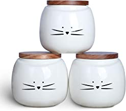 Koolkatkoo Ceramic Cat White Canister Set Coffee Tea Sugar Food Storage with Bamboo Lid for the Kitchen Canister Round Set...