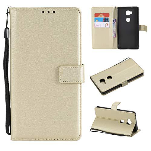 TTUDR Huawei Honor 5X Premium Leder Flip Schutzhülle [Standfunktion] [Kartenfächer] [Magnetverschluss] lederhülle klapphülle für Huawei Honor 5X - TTMS020507 Gold