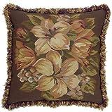 EuroLuxHome New Aubusson Throw Pillow 23'x23' Flower Leaf Brown/Green Handwoven Wool