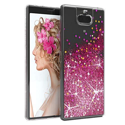 EAZY CASE Hülle kompatibel mit Sony Xperia 10 Plus Schutzhülle mit Flüssig-Glitzer, Handyhülle, Schutzhülle, Back Cover mit Glitter Flüssigkeit, TPU/Silikon, Transparent/Durchsichtig, Pink
