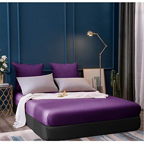 Sábanas de cama doble, super suave polialgodón de 40 cm para decoración de dormitorio (juego de cama de ciruela)