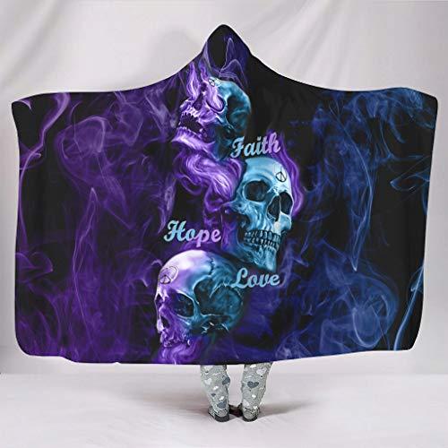 superyu Manta unisex con capucha Faith Hope Love Fire Skull Original Unisex para adultos blanco 127 x 152 cm